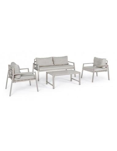 Conjunto de exterior 4 plazas aluminio con cojines. Bizzotto Lorillard Marfil  - 1