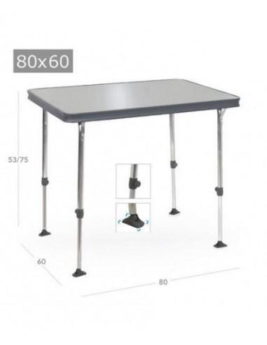 Mesa ligera plegable 80x60cm de aluminio reforzado. Crespo AL-245  - 1