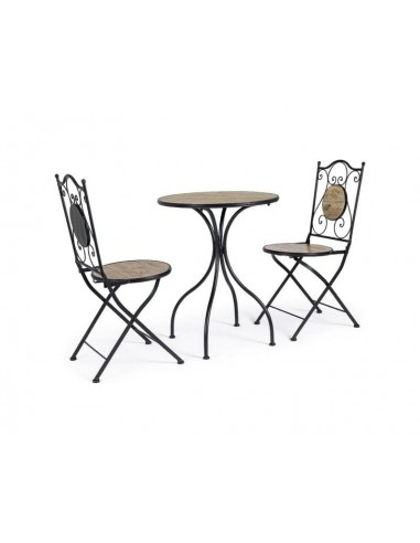 Set de terraza mesa + 2 sillas plegables en metal y cerámica. Bizzotto Kansas  0806173  - 1